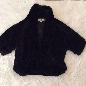 """Jolt"" black faux-fur jacket in size medium."